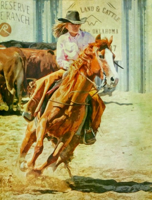 Cowgirl Rodeo Painting
