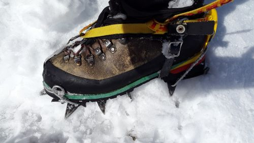 crampon high-altitude mountain tour mountaineering shoes