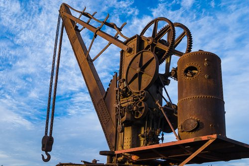 crane  steam  rusty