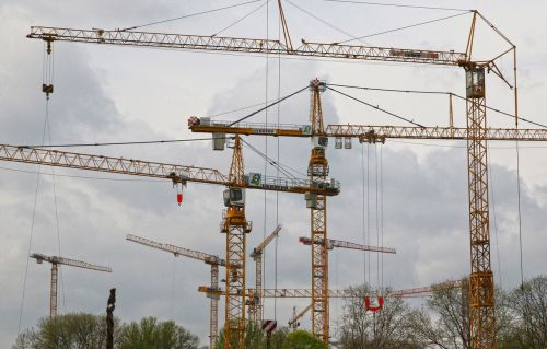 cranes construction cranes site