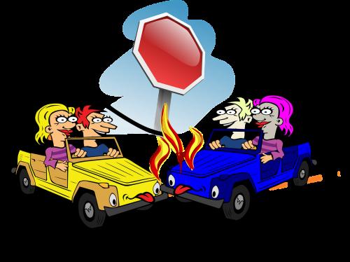 crash car accident stop sign