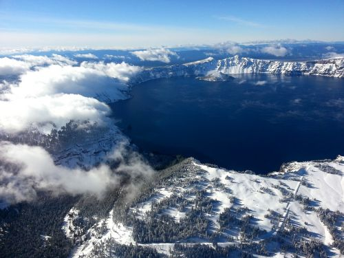 crater lake winter snow