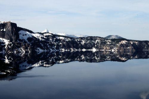 krateris & nbsp, ežeras, žiema, sniegas, oregonas, ežeras, gamta, kraštovaizdis, atspindys, vanduo, žiemą kraterio ežeras