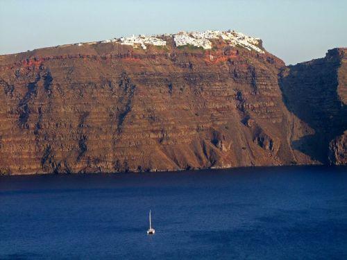 crater rim sea santorini
