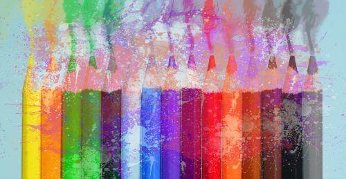 crayons paint splash