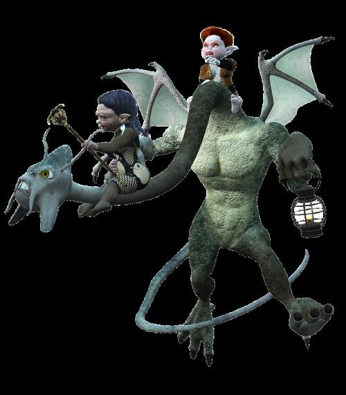 creatures riding elves
