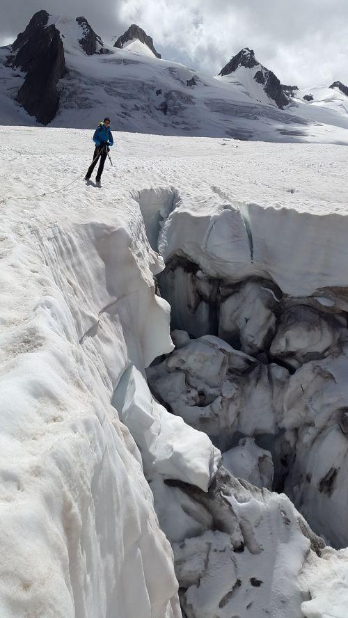 crevasse glacier mont blanc