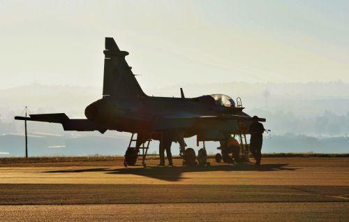 Crew Around Gripen Jet
