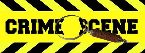crime scene  tape  magnifying glass