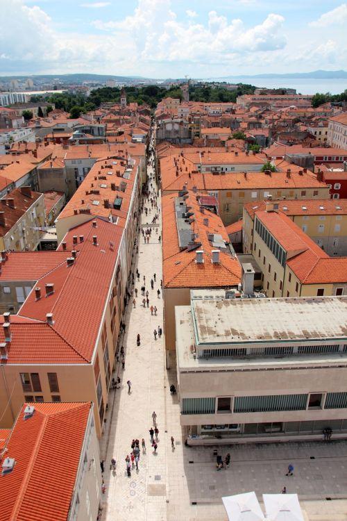 kroatija,zadar,iš viršaus,Senamiestis,Dalmatija,bažnyčia,istorinis senamiestis