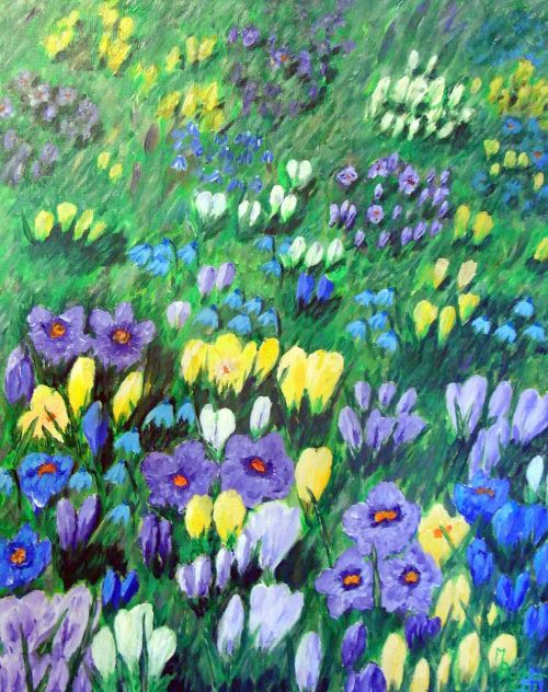 crocus flowers painting