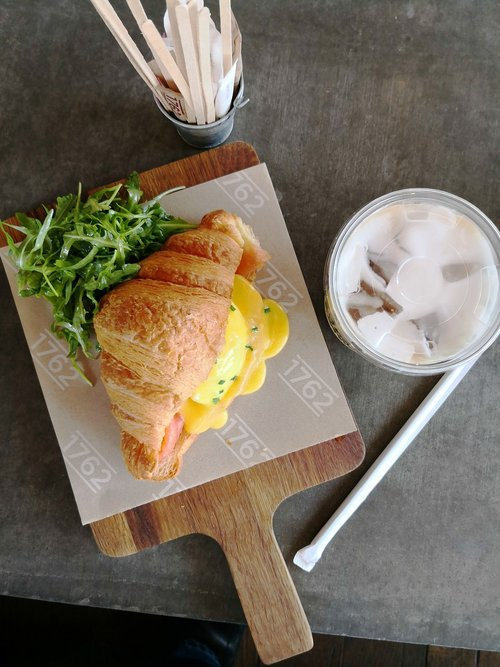 croissant  poached eggs  lunch