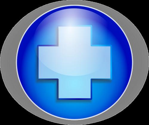 cross blue button