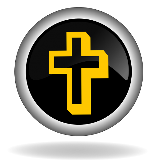 cross christian symbol button