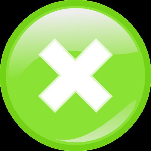 cross green button