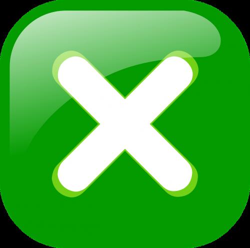 cross button green