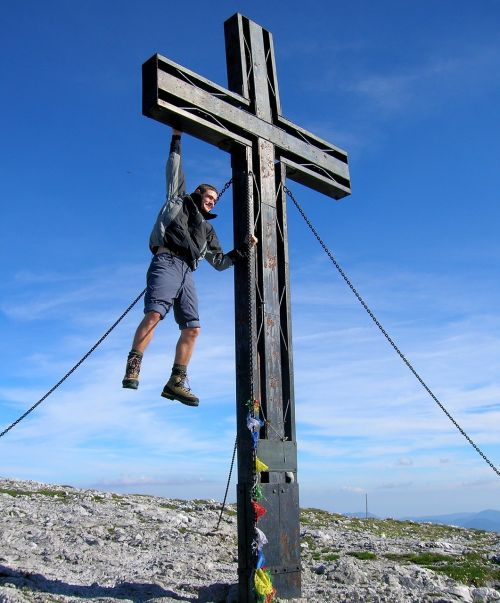 cross mountains man