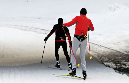 cross country skiing,cross-country ski,winter,snow,sport,white,trace,cross-country skiing,snowy,snow lane,sticks,winter sports,trail,nature,ski cross-country skiing,cold,leisure,dynamic,athletes