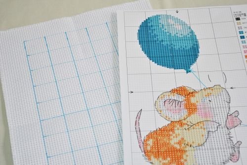 cross stitch cartoon version printed fabric
