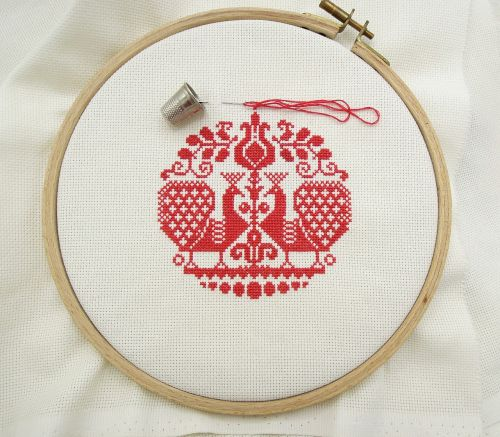 cross stitch embroidery red