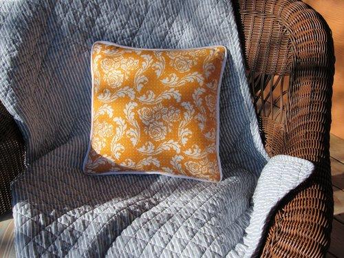 cross stitch  pillow  tangerine