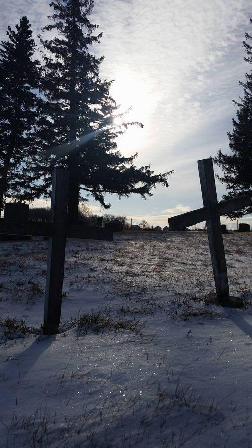 crosses snow graves