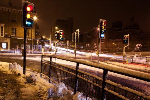 Crossroads At Night In Winter