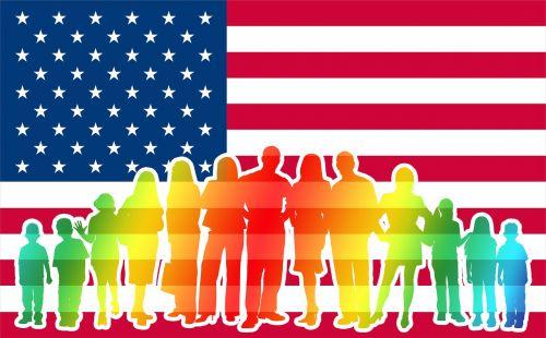 crowd usa flag