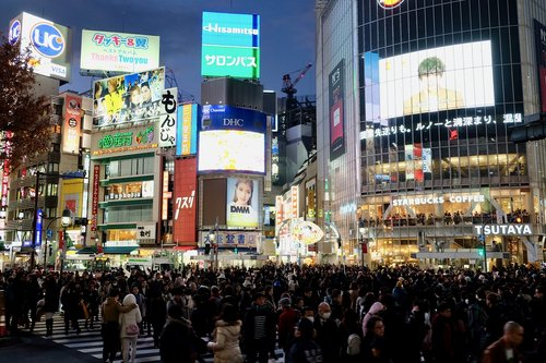 crowd  city  scramble road