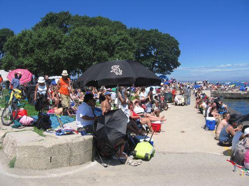 crowd lake urban