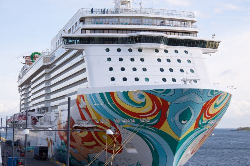 cruise ship offset colorful