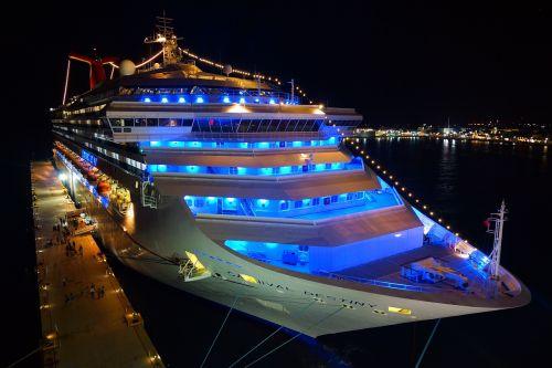 cruise ship night neon light