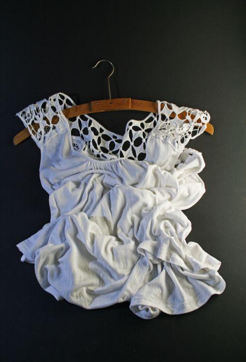 Crumpled White Top & Wooden Hanger