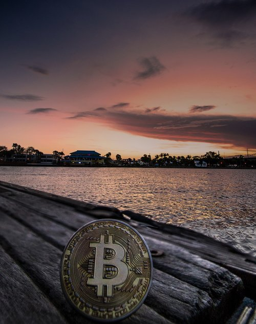 cryptocurrency  concept  sunset