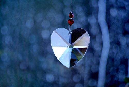 crystal heart mirror