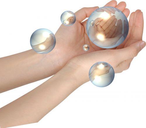 crystal ball hands open reflect