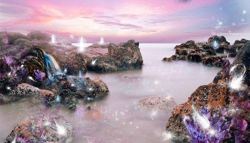 crystals  landscape  light