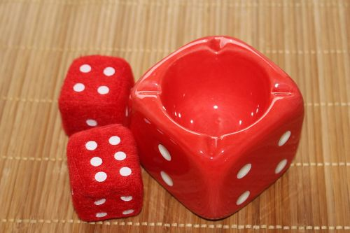 cube ashtray red