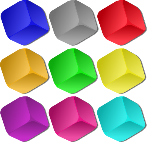 cubes colorful marbles