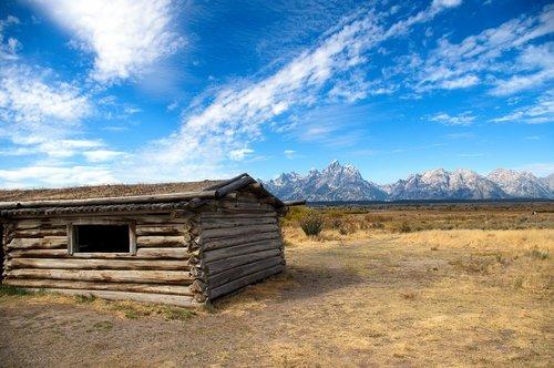 cunninghan cabin and teton range  cabin  mountains