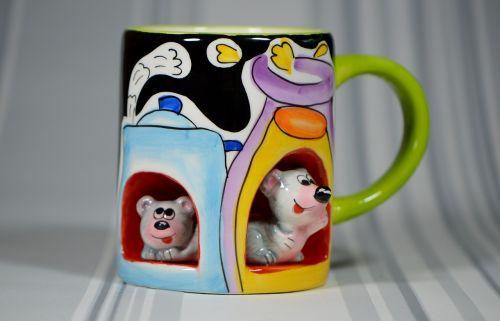 cup mice porcelain