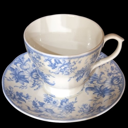 cup and saucer  white and blue china  cup