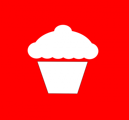 cupcake white red background