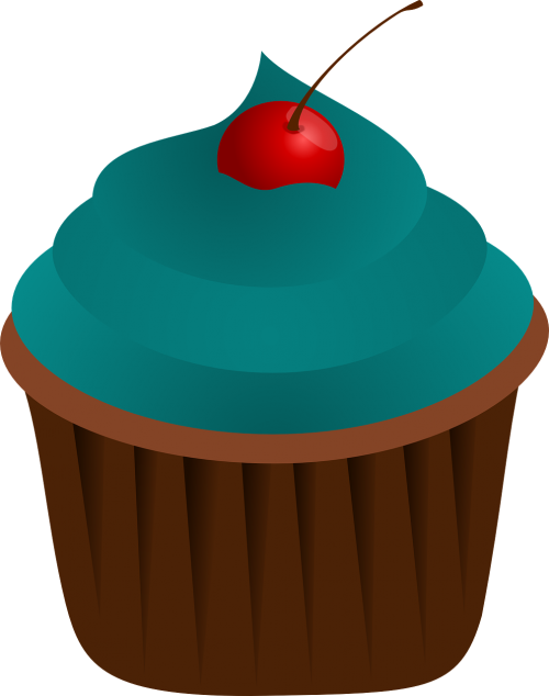 cupcake blue food