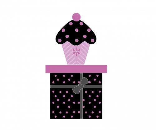 Cupcake On Gift Box
