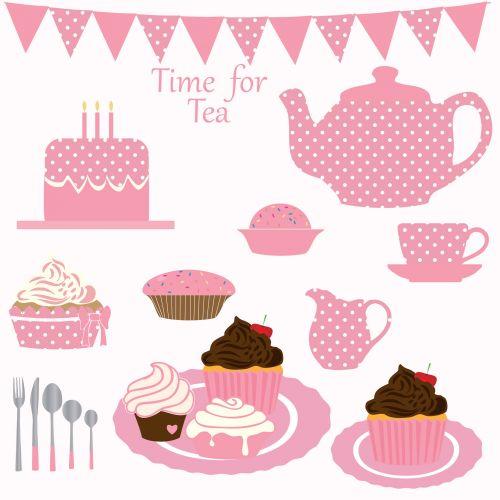 Cupcake Tea Party Clipart