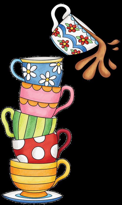 cups tea watercolor