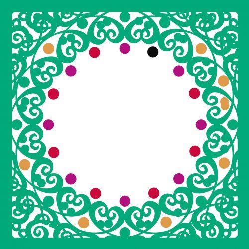 žalias, garbanotas, rėmas, spalva, taškai, izoliuotas, balta, fonas, garbanotas rėmas 7