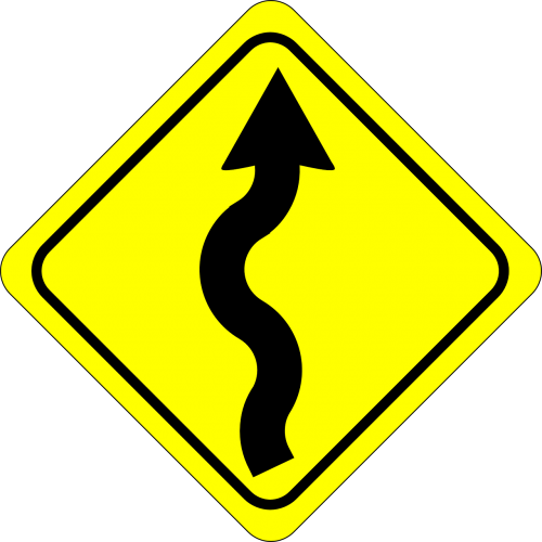 curvy road sign crooked road sign warning sign