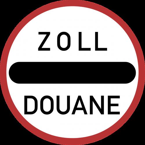 customs road sign stop